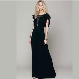 Free People Film Noir Ruffle Back Maxi Dress Black